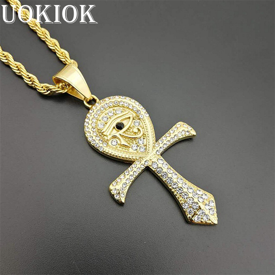 Ankh Cross Pendant w// Chain 2 Necklace Set New Hip Hop Micro Pave Eye of Horus