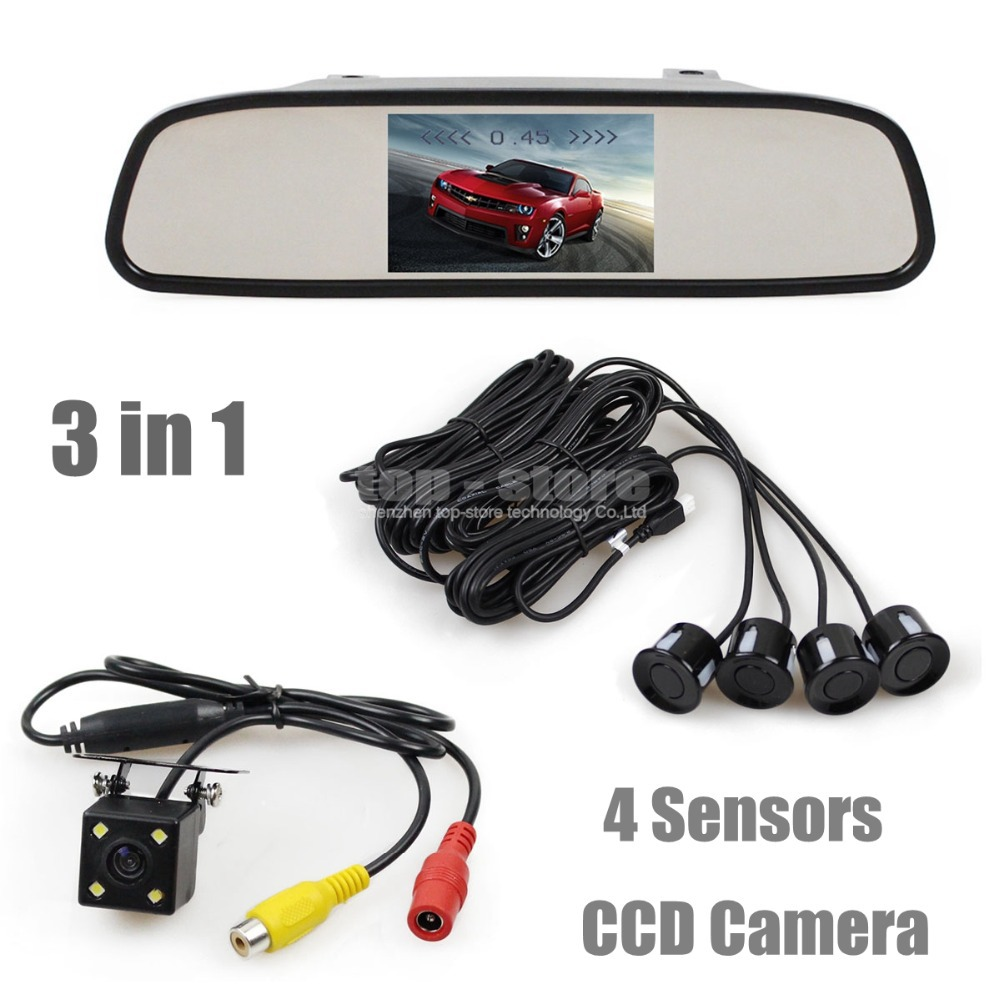 DIYKIT Video Parking Radar 4 Sensors 4.3 Inch Car Mirror Monitor + 4 x LED Ccd Car Rear View Camera Parking Assistance System diykit 9 inch tft lcd display rear view car mirror monitor with 2 video input for parkign system car ccd camera cam dvd