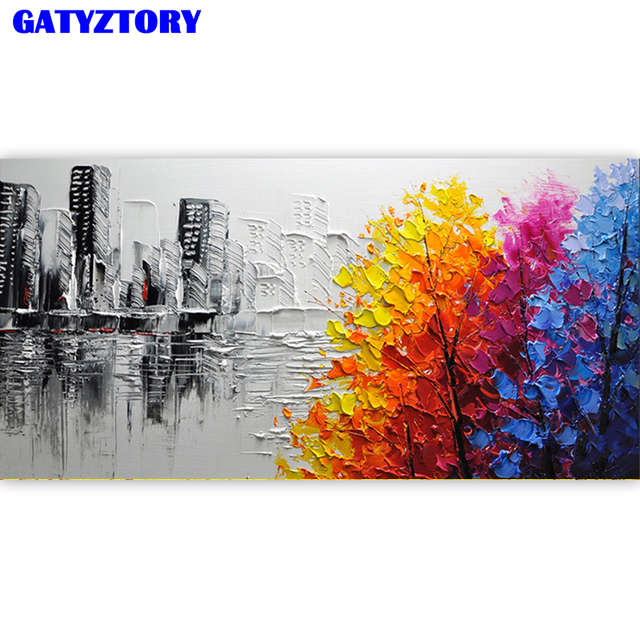 GATYZTORY Frame 60x120cm City DIY Painting By Numbers Acrylic Paint By Numbers Landscape Wall Art Canvas Painting For Home Decor