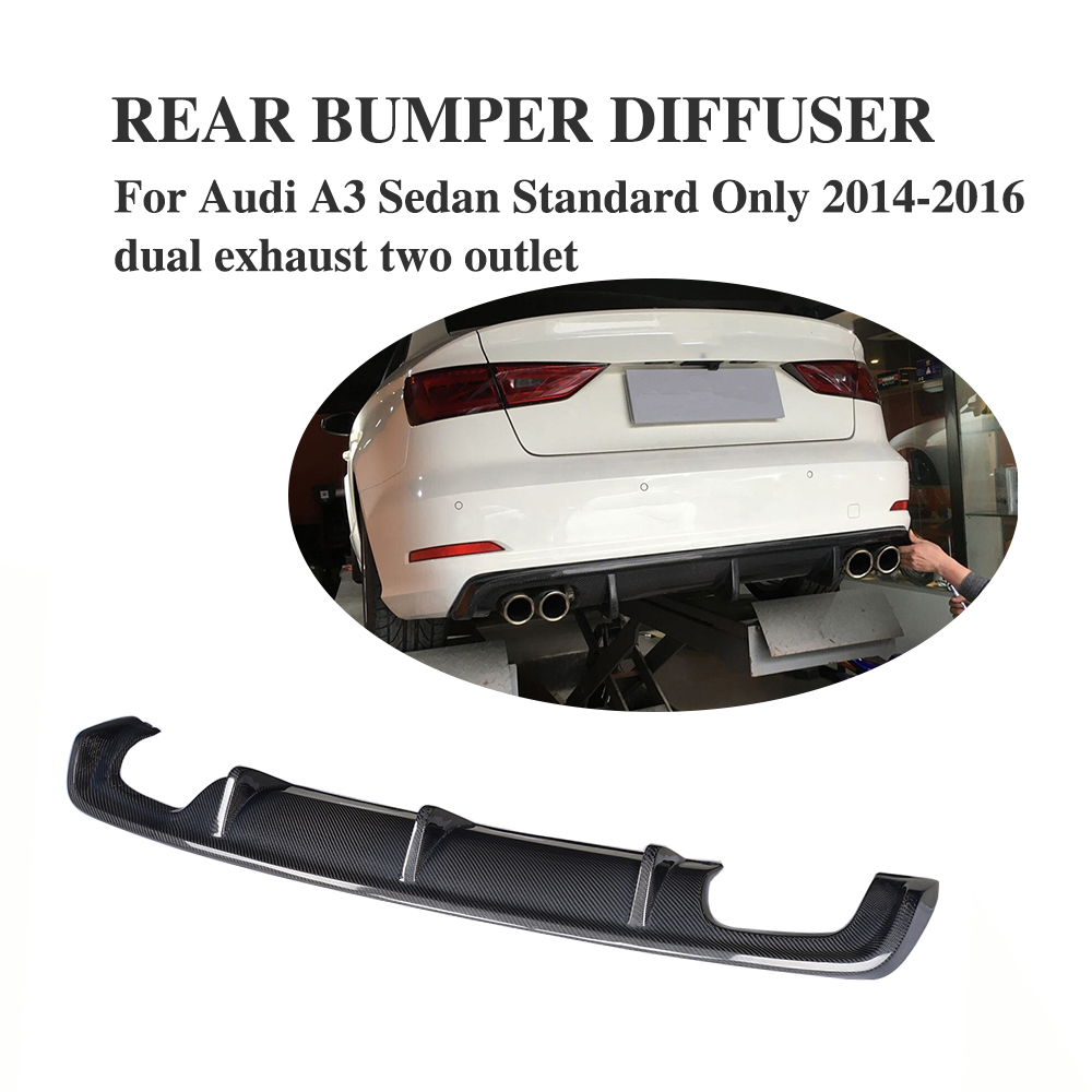 Carbon Fiber <font><b>Rear</b></font> <font><b>Diffuser</b></font> Bumper Lip Spoiler for <font><b>Audi</b></font> <font><b>A3</b></font> Standard Sedan 8V 4 Door 14-16 Non Sline Four Outlet Exhaust <font><b>Diffuser</b></font> image