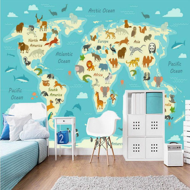 Cartoon Hand Painted Around World Animal Map Wallpaper for ...