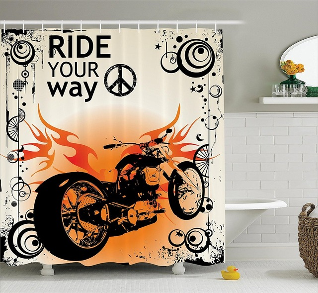Shower Curtain Cool Motorcycle Image With Ride Your Way Printing Waterproof  Mildewproof Polyester Fabric Bath Curtain