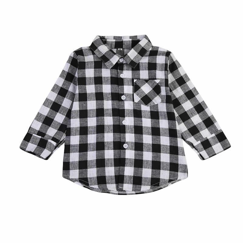 Fashion Balita Bayi Anak-anak Gadis Kotak-kotak Kemeja Lengan Panjang Baju Atasan Tshirt