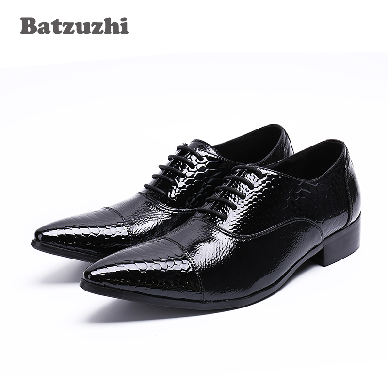 BATZUZHI Luxury New Handmade Men Dress Shoes Genuine Leather Black Italian Fashion Business Oxford Shoes 2018 Lace-up, US12 EU46 pjcmg new fashion luxury comfortable handmade genuine leather lace up pointed toe oxford business casual dress men oxford shoes