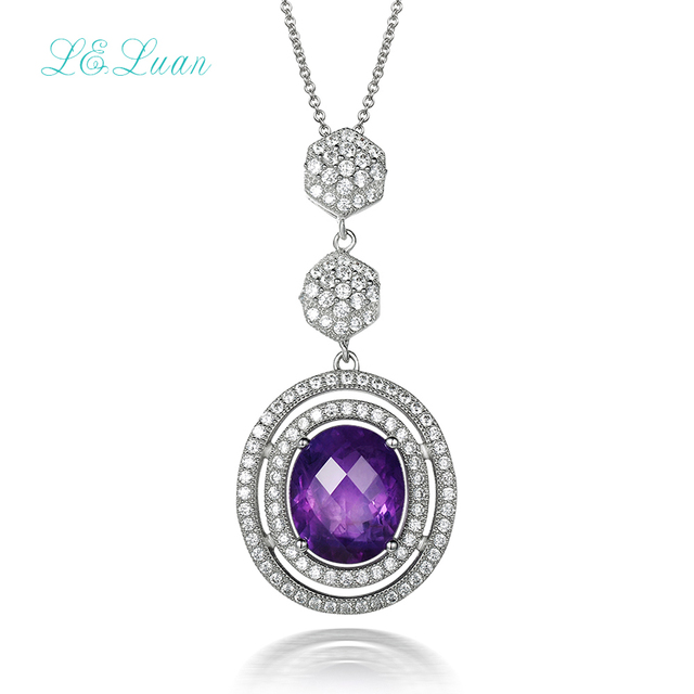 Pendent necklace for women natural 4.71ct amethyst oval purple gemstone fine jewelry 925 sterling silver diamond necklace party