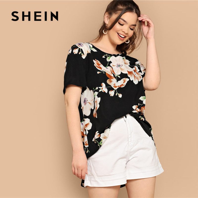 SHEIN Black Boho Floral Print Asymmetrical Hem Short Sleeve Women Plus Size Blouses 2019 Bohemian Summer Vacation Tops Blouse 2