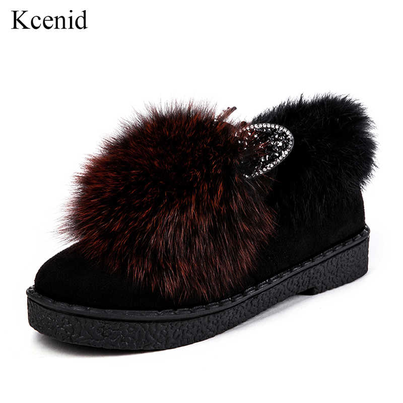 ee6d005d3cb Kcenid Fox fur loafers women flats warm fur winter shoes round toe ladies  casual slip on