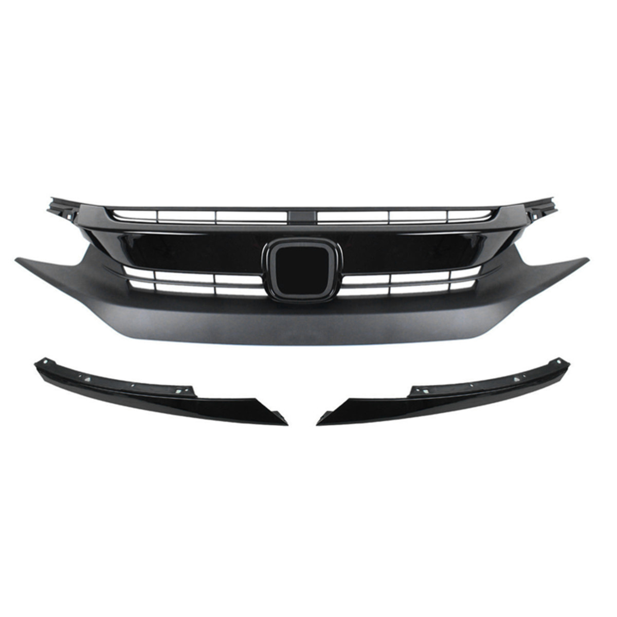 1Set Car Front Hood Grille Grill&Headlight Eye Lid for Civic 10th 2016-2017 Gen Plastic Black JDM RS Style Hatchback Si Type-R