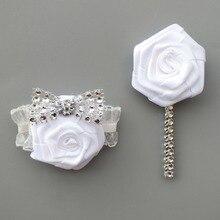 10piece/lot  Wrist Flower Rose Silk Ribbon Bride Corsage Hand Decorative Wristband Bracelet Bridesmaid Bouquet boutonniere 559-J