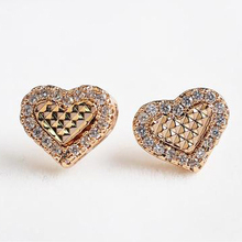 USTAR Austria Crystals Heart Stud Earrings for women  Gold/Silver color Brincos ouro Boucles d'oreille Bijoux women
