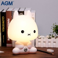 AGM Rabbit Night Light Cartoon Bear Table Desk Lamp Sleeping Bedside Lights With Bulb For Baby