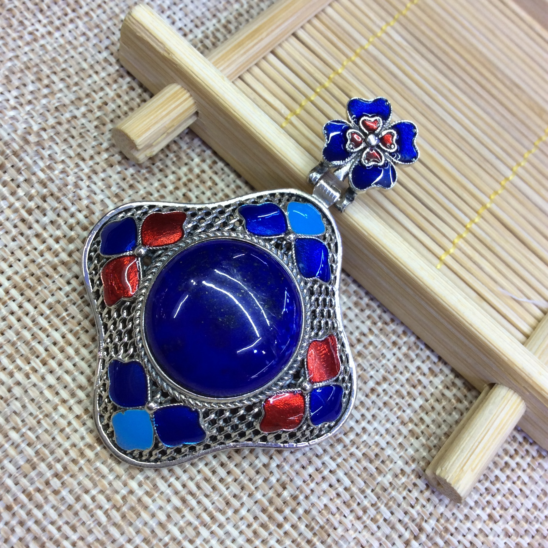 [S925] longnice silver silver inlaid pure natural lapis lazuli stone filigree Cloisonne pendant ornaments цена