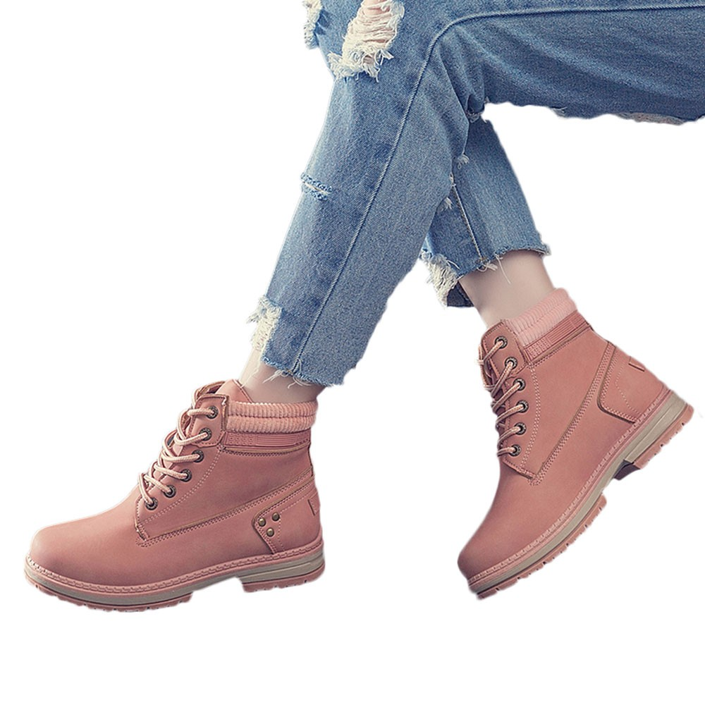 Women Boots Solid Lace Up Casual Ankle Boots Round Toe Shoes Student Snow Boots Classic Winter Warm Ladies Shoes T## 19