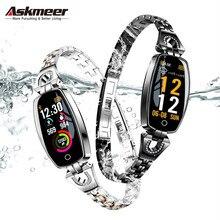 ASKMEER H8 女性のスマートウォッチフィットネスブレスレットスポーツ防水心拍数モニターの Bluetooth Ios アンドロイドスマートウォッチガールギフト