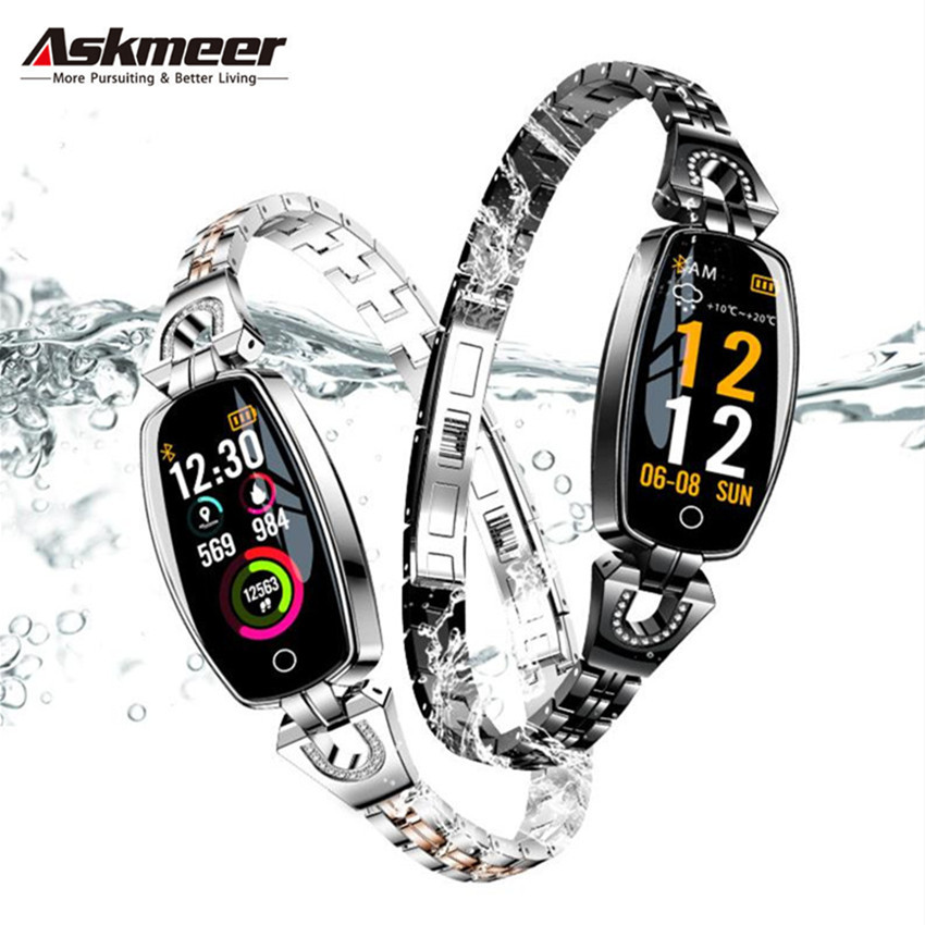 ASKMEER H8 Women Smart Watch Fitness Bracelet Sport Waterproof Heart Rate Monitor Bluetooth For IOS Android Smartwatch Girl Gift-in Smart Watches from Consumer Electronics