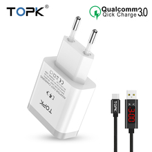 TOPK Mobile Phone Charger 18W Quick Charge 3.0 Fast USB Charger EU Plug Wall Travel Adapter for Samsung Galaxy S9/S8 Xiaomi LG