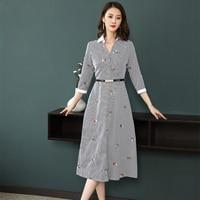 Brand Design New 2018 Spring Summer Style Pretty Clothes Women Dress Elegant Embroidered Seven Sleeve Slim