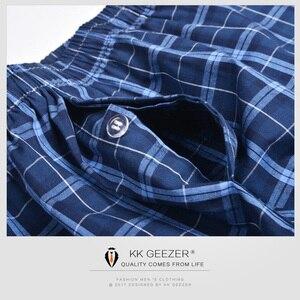 Image 3 - Herren Unterwäsche Boxer Shorts Casual Baumwolle Schlaf Unterhose Packag Hohe Qualität Plaid Lose Komfortable Homewear Gestreiften Höschen