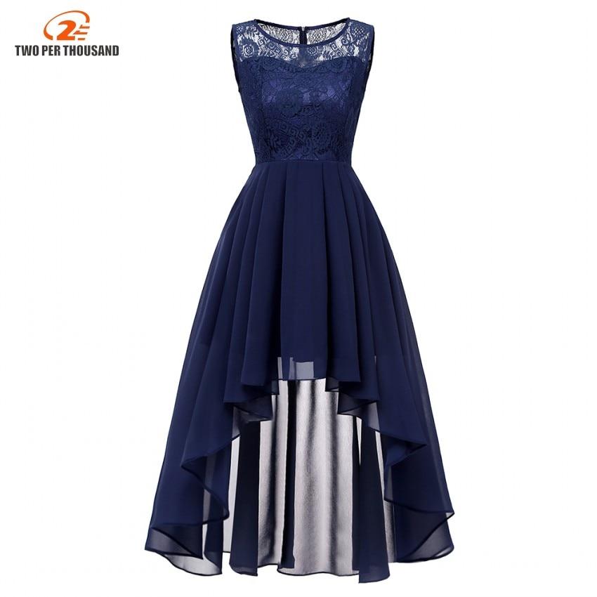 c7abf1411ebced 2019 Women Sexy Sleeveless Asymmetrical Chiffon Lace Long Dresses Female  Maxi Elegant Party Dress Navy Blue Vestidos De Festa