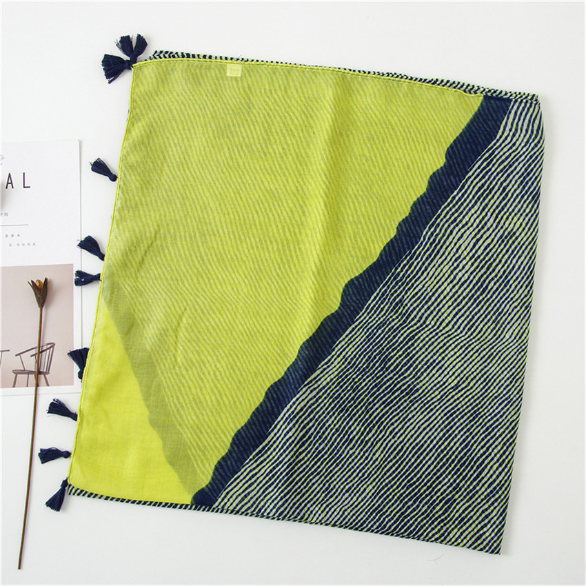 2019 New Fashion Ombre Striped Patchwork Tassel Viscose Shawl Scarf From Japan Design Lady Print Pashmina Stole Wrap Hijab Sjaal