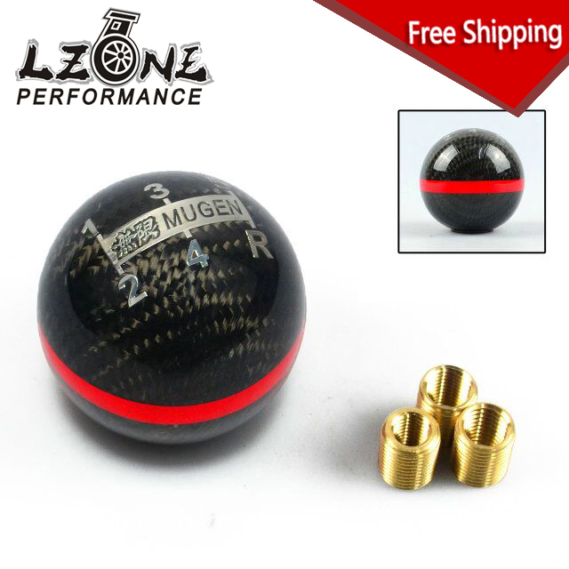 FREESHIPPING Real Carbon Fiber MUGEN Gear Shift Knob 5 Speed Manual Automatic Spherical Shift Knob For