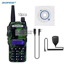 NKTECH Cable USB y Altavoz Micrófono + 10 Pack BAOFENG UV-82 doble Banda VHF UHF 136-174/400-520 MHz Radio de Dos Vías Walkie Talkie Verde