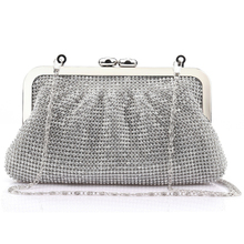 New luxury diamond shining folds full rhinestones classic party clutch evening bag handbag free shipping for lady Recommend 7669