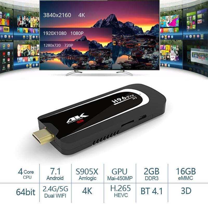 H96 Pro Mini PC H3 Amlogic S905X Quad Core Android 7.1 TV box 2.4g 5g Wifi 2g RAM 16g ROM 4 k HD TV Dongle Smart TV Box-in Clés de diffusion pour télévision from Electronique    1