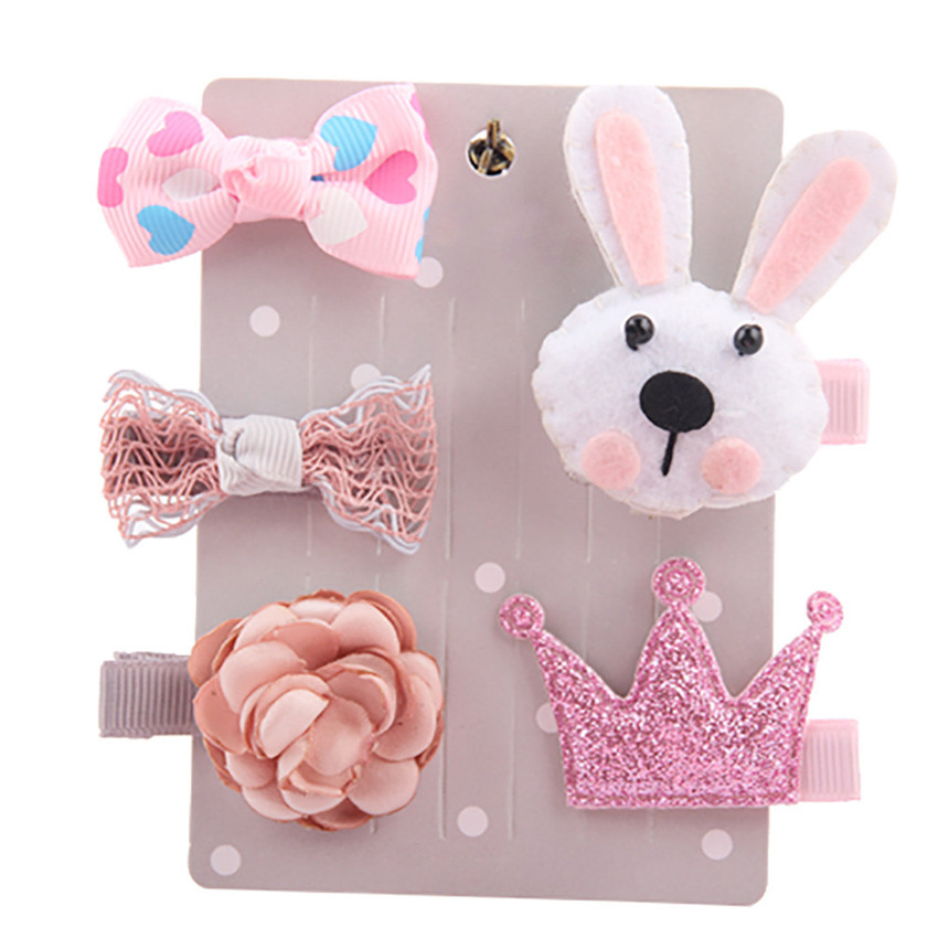 2018 5Pcs Kids Baby Girl cute Sweet Cartoon animal motifs Hair Clip Set Headdress Hair Style gifts