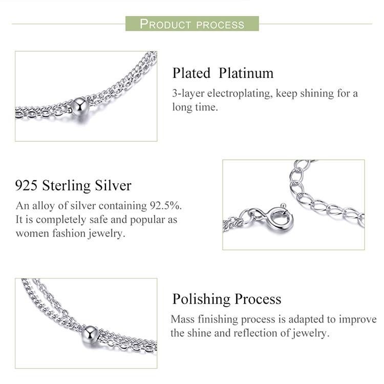 HTB1UiZSQhjaK1RjSZFAq6zdLFXaR BAMOER 925 Silver Chain Bracelet Women Round Beads Double Layers Link Chain Bracelets Female Sterling Silver Jewelry 2019 SCB131