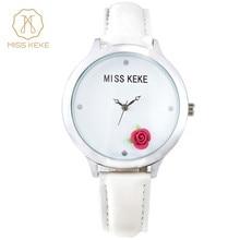 Miss Keke 3d Simple Floral Design Clay Mini World Women Watch Rose Montre Femme Relogio Feminino