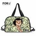 Forudesigns ocasional dos homens das mulheres viajar sacos de bagagem bonito estampas de animais cat dog sacos de duffle da lona para adolescentes sacola noite