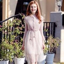 2018 Spring and Summer Runway Designer Dress Womens Luxury Brand Short Sleeve Lace