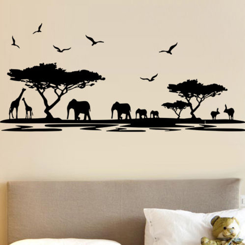 Us 9 98 25 Off Nature Africa Elephants Giraffes Animal Wall Stickers For Nursery Kids Room Wallpaper Decals Bedroom Home Murals Vinyl Art L491 In