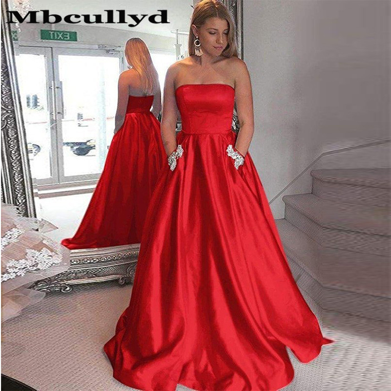 Mbcullyd Strapless   Prom     Dresses   Long 2019 With Shining Crystal Formal Evening   Dress   Party Gowns For Women Vestido formatura
