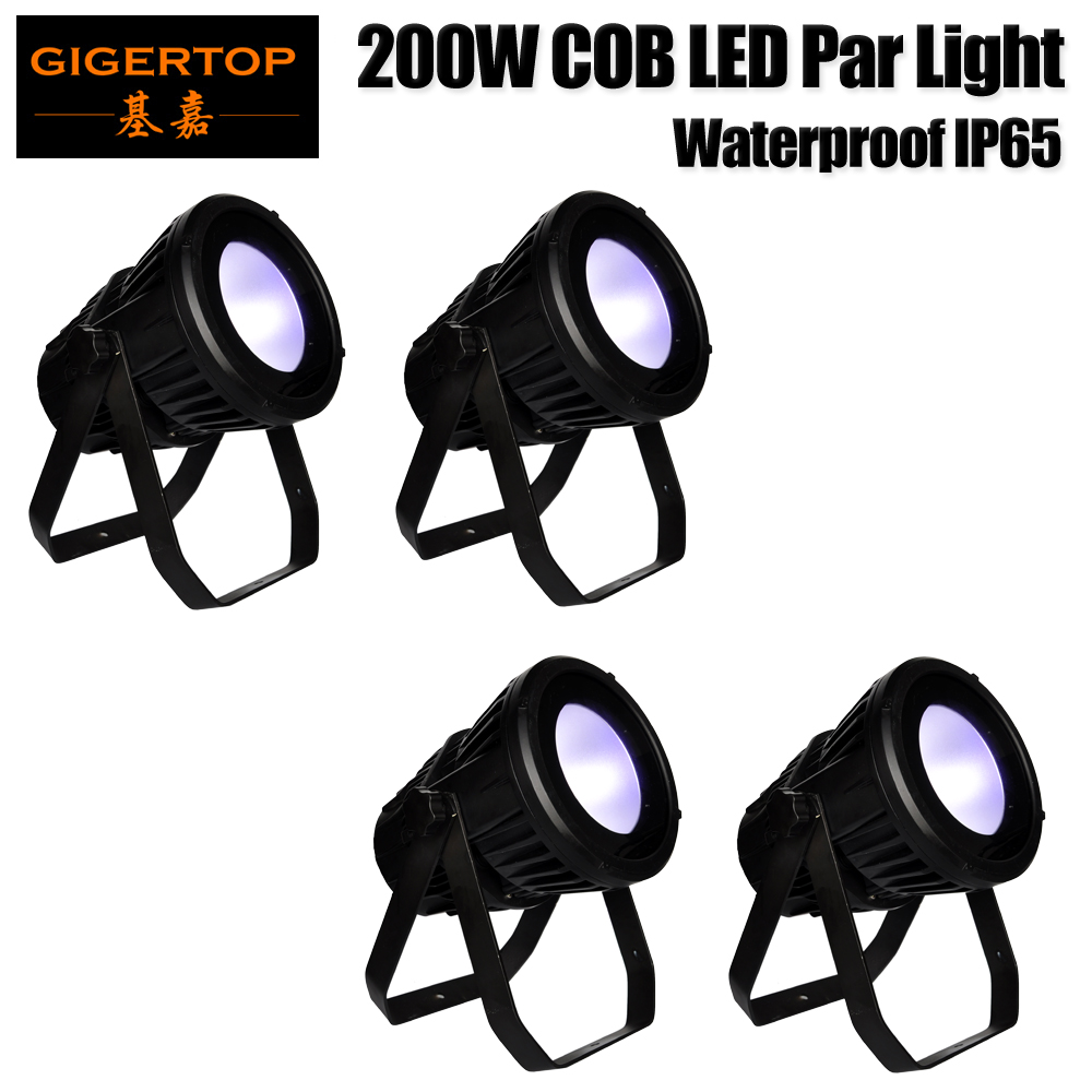 Freeshipping 4 Units 200W COB Led Par Light Ip65 Waterproof White/RGBW/RGBWA UV Led Projector Light For Disco, Ballroom,Club
