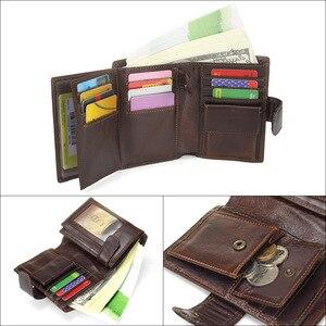 Image 4 - MISFITS Vintage Men Wallet Genuine Leather Short Wallets Male Multifunctional Cowhide Male Purse Coin Pocket Photo Card Holder