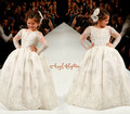 Bling Beading white/ivory lace appliques Long Sleeves flower girl dresses lovely kids wedding birthday party ball   gowns