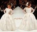 Bling Rebordear blanco/marfil apliques de encaje Mangas Largas vestidos de niña encantadora niños fiesta de cumpleaños de la boda vestidos de bola