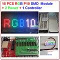 18 PCS SMD P10 módulo + 1 PCS rgb assíncrona cartão + 2 PCS potência interior movendo rolagem programável sinal de cores led kits diy