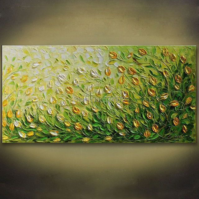 100% Hand painted modern home decor abstract wall art picture green ...