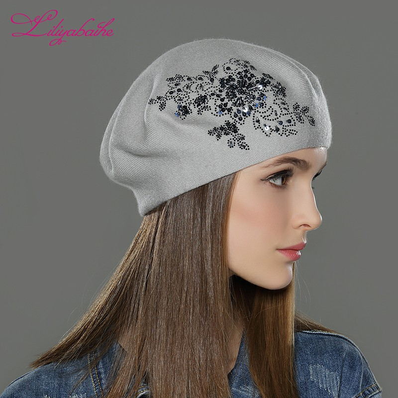 5ad1ff5e3 LILIYABAIHE New Women Winter Hat wool Knitted Berets Cap with flower  Sequins diamond decoration solid colors fashion lady hat