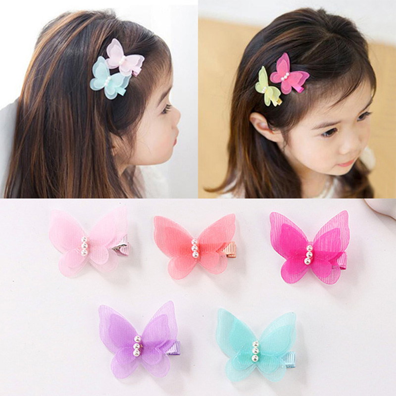 1PC Little Girl Barrettes Cute Colorful Butterfly Pearl Hair Clip Kids Gift Hairpins Children Headband Hair Accessories Headwear