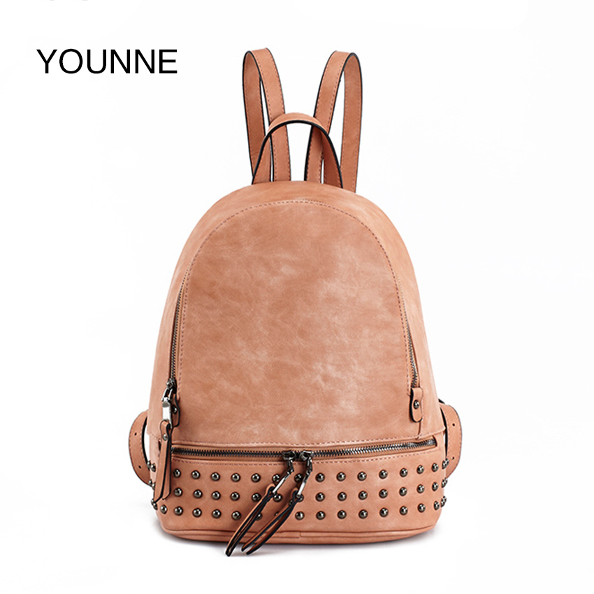 YOUNNE Women Fashion Backpack For Girl Casual Rivet Backpack School Bag Female Daily Solid Color Shoulder Bags Lady Zipper Bags jxsltc womens pu leather rivet backpack female backpack for adolescent girl casual small backpacks women pouch fashion lady bag