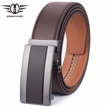 Plyesxale Cow Genuine Leather Belts For Men 2018 Luxury Mens Automatic Business Belt Ratchet Buckle G47