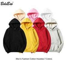 BOLUBAO moda marka męska bluza z kapturem jednolity kolor Casual Men 100% bawełna bluzy Hip Hop mężczyźni bluza z kapturem Street Style bluzy