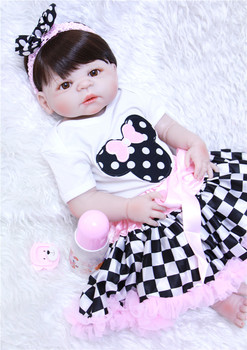 "Lovely bebe girl dolls reborn 22""55cm full body silicone reborn dolls fashion children gift dolls play house toys bonecas"