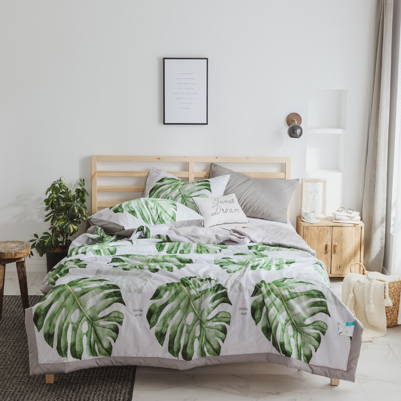 Svetanya Thin Throws Blanket Green Leaves Print Summer Comforter Kids Adults stiching <font><b>Quilt</b></font> (No Pillowcase)