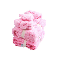 Thick Coral Velvet Bathroom Hair Drying Set of 3 Hair Towel/Dryer Cap/Headband Water Magnent Absorption Microfiber Accessories