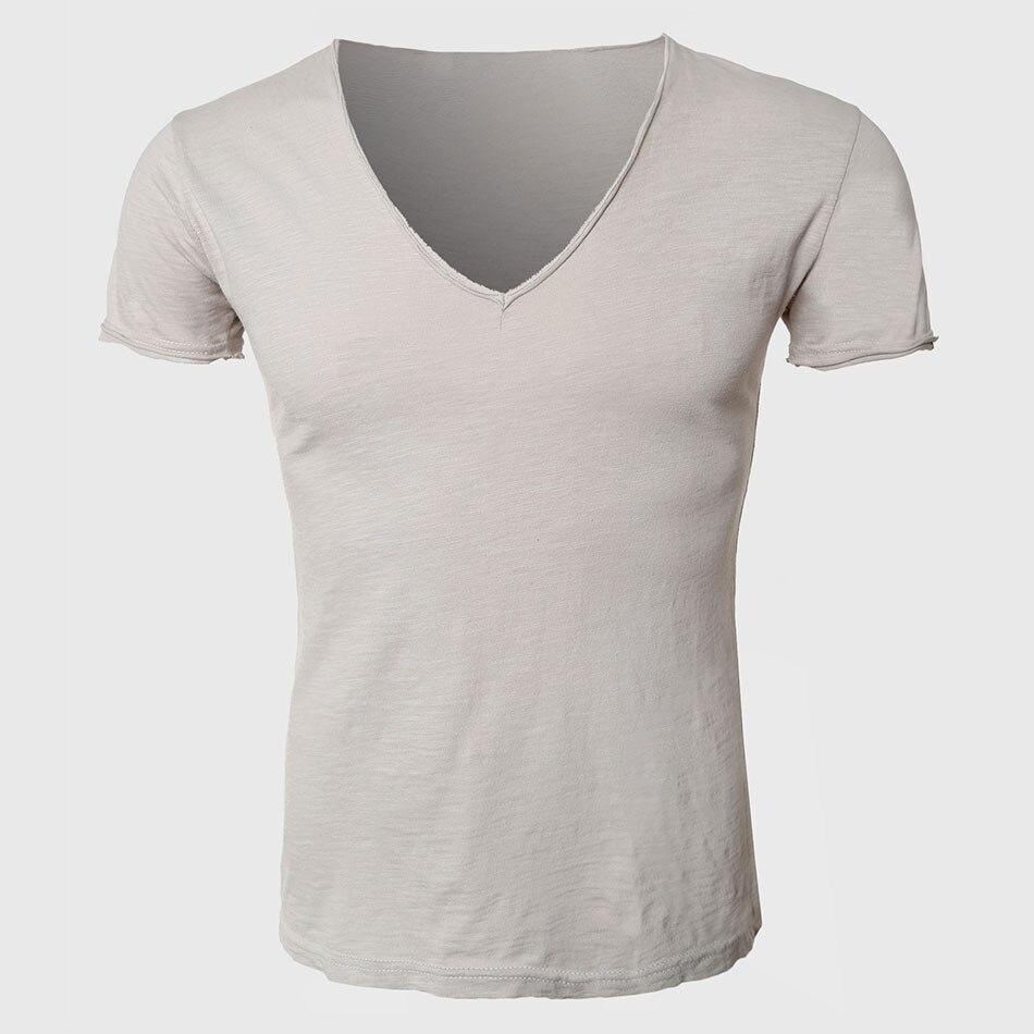 Men Summer Tee Shirt V Neck Short Sleeve Slim T Shirts